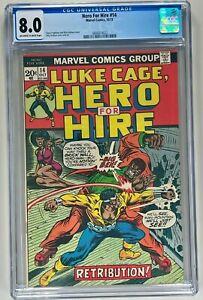 HERO FOR HIRE #14 CGC 8.0 NM (MARVEL 1973) 🔑 HIGH GRADE BRONZE AGE 🔥LUKE CAGE