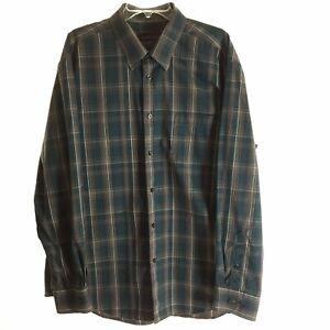 Kenneth Roberts Platinum Mens XXL Green Plaid Long Sleeve Button Front Shirt