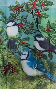 Feathered Friends Bird Standard House Flag, Evergreen #3645 Chickadees Blue Jay