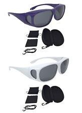 Überzieh Sonnenbrille Sonnenüberbrille SUPER-SPAR-EDITION 2 Stück (Lila, Weiß)