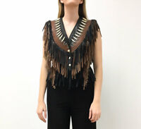 Vintage VTG 1970s 70s Sunriders Brown Black Leather Fringed Studded Vest
