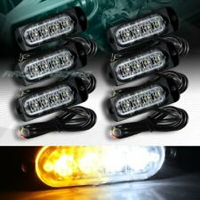 24 LED WHITE/AMBER CAR EMERGENCY BEACON HAZARD WARN FLASH STROBE LIGHT UNIVERSAL