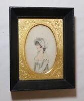 antique 1804 portrait La Mode Series French lady miniature engraving fashion