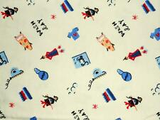 """Cute! """"Wash Day"""" Laundry Suds Yellow Quilter's Cotton Flannel Print Fabric 46x44"""