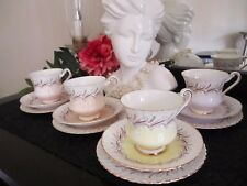 Set of 4 Paragon Trios Fine Bone China Lemon/Pink/Mauve/ Apricot