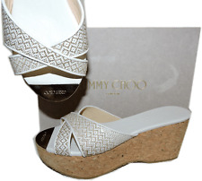 Jimmy Choo Prima White-Beige Woven Leather Cork Wedge Sandals Gold Toe 38- 7