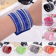 1PC Women Fashion Leather Wrap Wristband Cuff Punk Rhinestone Bracelet Bangle