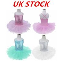 UK Kids Girls Ballet Dance Dress Gymnastic Tutu Skirts Skating Leotard Dancewear