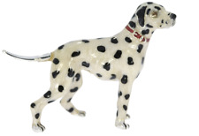 More details for sterling silver/ enamel small dalmatian dog by saturno animal sculpture figurine