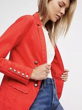 NEW Free People Structured Washed Military Blazer Jacket Size Medium Red