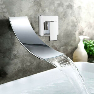 Wall Mount Bathroom Sink Bathtub Waterfall Spout Faucet Brass Mixer Tap Chrome