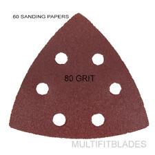 60 Pack: Large Triangular Size 80 Grit Velcro Hook & Loop Sanding Papers