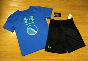 Under Armour T-Shirt Shorts Set Size 5 Boys Blue Black HeatGear UA NEW NWT