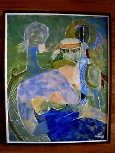 FINEST HARRY JACQUES ARIJAC HAITIAN ARTIST ENCAUSTIC PAINTING NUDE WOMAN W/ HATS