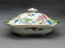Antique Staffordshire TUREEN ~ Royal Yeddo / Exotic Bird & Floral ~ Serving Dish
