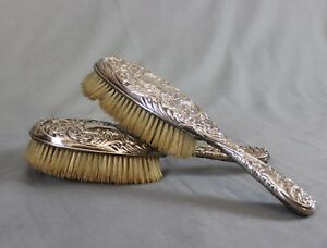 Pair of Antique Repousse Silver Hair Brushes London 1902