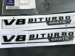 2 Mercedes Benz V8 BITURBO 4MATIC+ Side Fender Badge Sticker AMG C63 E63 GLC63