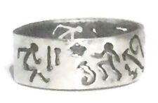 Vintage Stick Figures Arrow People Sterling Silver Ring Thumb Band Size 8.75