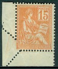 FRANCE : 1900-01. Yvert #117 Bottom Left corner margin single with nice foldover