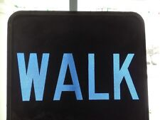 "seems vintage, maybe 1950s: WALK traffic sign lens: 9""x9"" blue glass&metal"