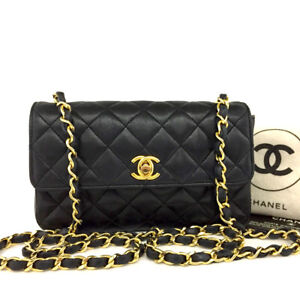 CHANEL Quilted 19 Single Flap CC TurnLock Lambskin Chain Mini ShoulderBag /A0250