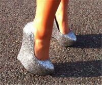 UK Women's Wedge Super High Heels Sequins Platform Shoes Glitter Nightclub Pumps