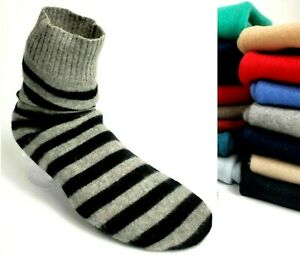 # 100% PURE CASHMERE BED SOCKS UNISEX ONE SIZE HANDMADE RECYCLED B003