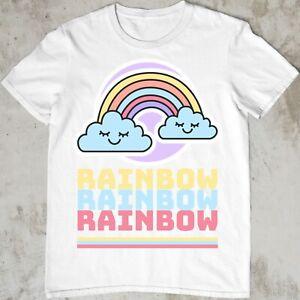 Kids Boys Girls Rainbow T-Shirt Cute smiling clouds kawaii