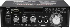 AMPLIFICATORE STEREO AUDIO BLUETOOTH 2 CANALI KARAOKE MP3 RADIO FM HI-FI USB AUX
