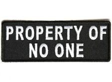 """(F12) PROPERTY OF NO ONE 4"""" x 1.5"""" iron on patch (4750) Biker Vest Patches"""