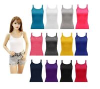 New Women Ladies Girls Rib Vest Tops Plain Short Length Camisole Stretch  S-XL