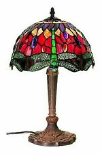 Tiffany Style Dragonfly Table Lamp Red and Blue 18-Inch