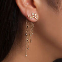 1Pair Women Rhinestone Long Tassel Earrings Chain Dangle Ear Stud Cuff Clip