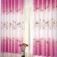 2PCS Mariposa Rosa Listo Hecho Anillo con ojales cortinas de ventana Dormitorio