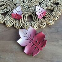 Vintage Leather Leaf Brooch Earrings Set Pink to Red Ombre Leaves Boho 1970s