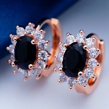 Zircon Classic Hoop Earrings H2007 Cool Wedding Rose Gold Plated Blackcubic