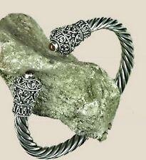 zauberhaft Kelten Armspange Armreif 925 Silber Granat Handgeschmiedet flexibel