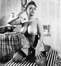1960s Pat Ebden Keeling on bed Natural Full Breasts 8 x 10 Photograph