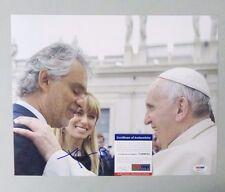 52227 Andrea Bocelli Signed 11x14 Photo w/ Pope Francis Auto Psa/Dna Coa