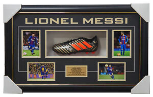 Lionel Messi Signed Barcelona Adidas Boot Box Framed 5 x FIFA Ballon D'Or Winner