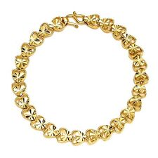 "Yellow Gold Filled 7.3"" Fashion Jewelry Women's Heart Bracelet Lover Chain 18K"