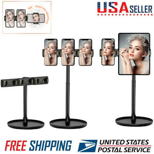 Universal Cell Phone Tablet Desk Stand w/ 3 Phone Holder for Makeup /Live Stream