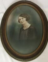 Large Antique Oval Framed Photograph 17 x 23 Circa 1910 Excellent Condition