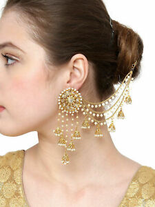 Indian Bollywood Gold Plated Bahubali Chain Pearl Jhumki Earring Wedding Jewelry
