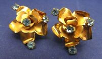 Vintage Costume Earrings Signed Austria Aqua Rhinestone Floral Goldtone Screwbk