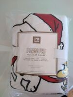 Pottery Barn Snoopy Woodstock Peanuts pillow sham cover dog Holiday Christmas NT