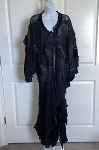 Kathryn Page Vintage Black Lace Kimono Robe Silk Chiffon Velvet Tie Front