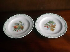 TWO DRESDEN DECORATIVE SALAD/DESSERT PLATES  WITH A FRUIT AND FLORAL PATTERN