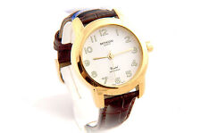 DRESS WATCH  WITH BROWN BAND & EASY TO READ DIAL WATER PROOF