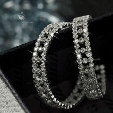 18k white gold made with SWAROVSKI crystal hoop stud earrings 925 silver hoops